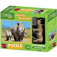 National Geographic 3D Puzzle s figurkou Nosorožec