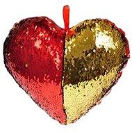 Polštářek ve tvaru srdce s flitry červený