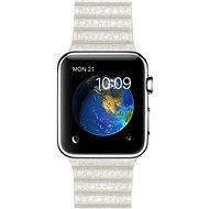 Apple Watch 42mm Nerez ocel s bílým koženým řemínkem - velikost M