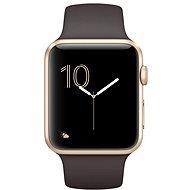 Apple Watch Series 2 42mm Zlatý hliník s kakaově hnědým sportovním řemínkem