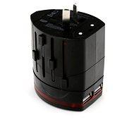 Omega 220-250V, US+EU+UK zástrčka, 2x USB černá