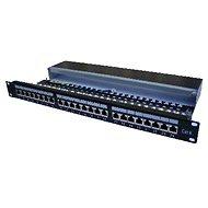 Datacom, 24x RJ45, přímý, CAT6, STP, černý, 1U