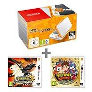 Nintendo NEW 2DS XL White & Orange + Pokémon Ultra Sun + YO-KAI WATCH 2
