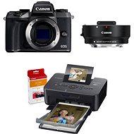 Canon EOS M5 tělo černý + adaptér EF-EOS M + Canon SELPHY CP1200 černá + papíry RP-54