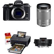 Canon EOS M5 + 18-150mm IS STM stříbrný + adaptér EF-EOS M + Canon SELPHY CP1200 černá + papíry RP-5