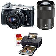 Canon EOS M6 stříbrný + EF-M 15-45mm + 55-200mm + Canon SELPHY CP1200 černá + papíry RP-54
