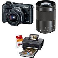 Canon EOS M6 černý + EF-M 15-45mm + 55-200mm + Canon SELPHY CP1200 černá + papíry RP-54
