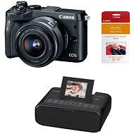 Canon EOS M6 černý + EF-M 15-45mm + Canon SELPHY CP1200 černá + papíry RP-54
