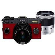 PENTAX RICOH Q-S1 červeno/šedý + Standard Zoom 5 - 15mm černý + Telefoto Zoom 15 - 45mm