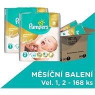 PAMPERS Premium Care vel. 1 Newborn + vel. 2 Mini (168 ks) - měsíční zásoba