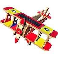 Dřevěné 3D Puzzle - Solární letadlo Dvojplošník barevný