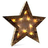 Solight LED dřevěná hvězda, teplá bílá