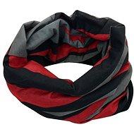 Šátek s fleecem černo červený
