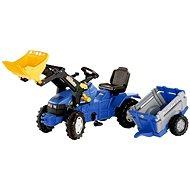Farmtrac modrý s vlekem a předním nakladačem