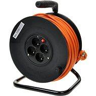 PremiumCord prodlužovací kabel 230V 25m buben, 4x zásuvka, oranžový
