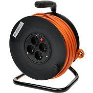 PremiumCord prodlužovací kabel 230V 50m buben, 4x zásuvka, oranžový
