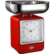 Wesco Retro kuchyňská váha s hodinami červená